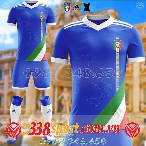 áo bóng đá đội tuyển Ý tự thiết kế màu xanh đậm đẹp
